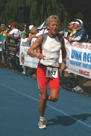 Charlie completing the 10 km run—the last leg of the Triathlon